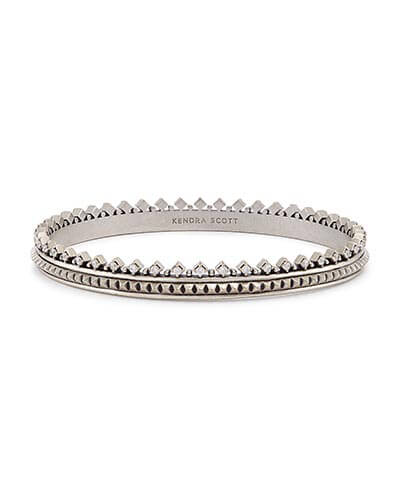 Mary Caroline Bangle Bracelet in Antique Silver