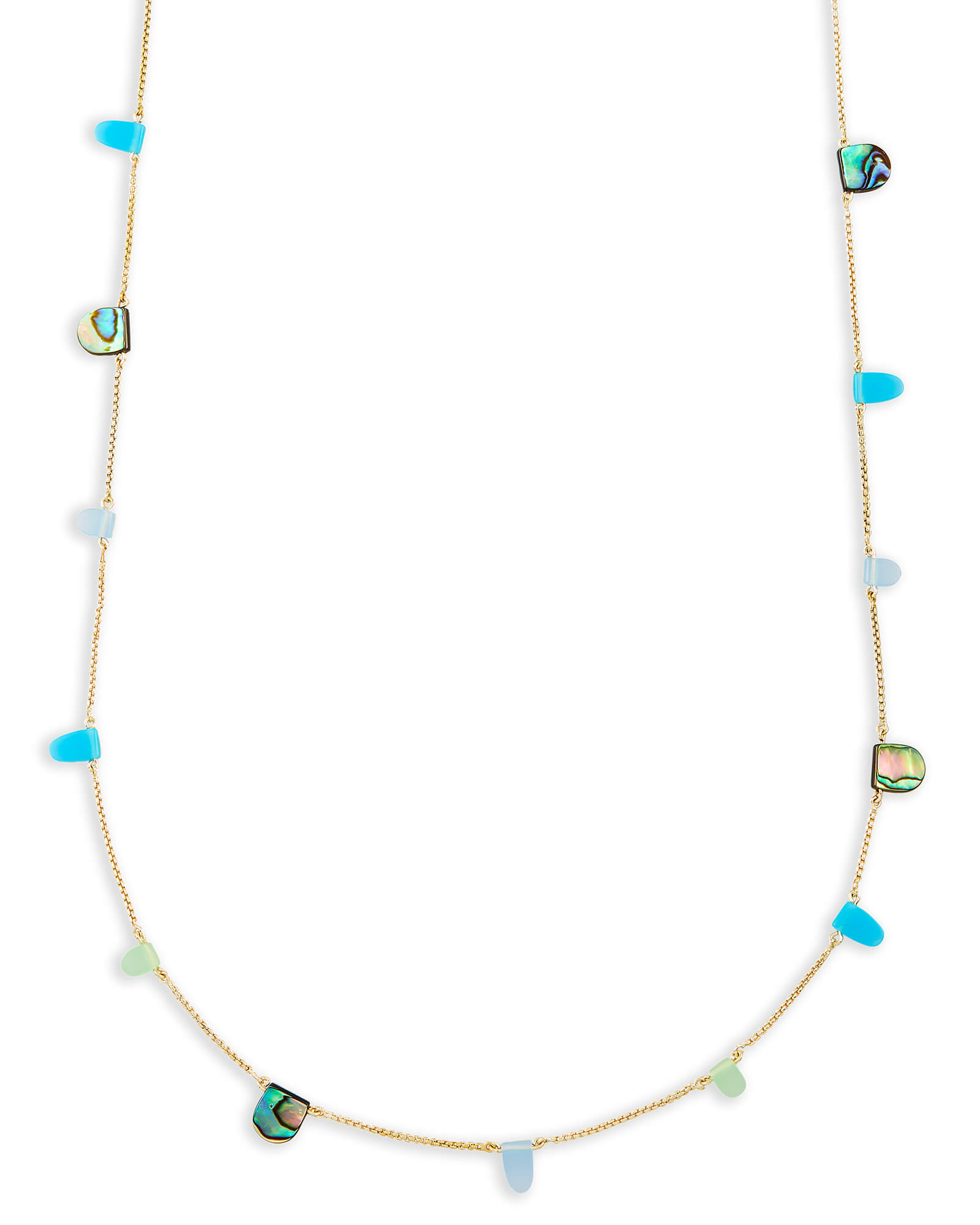 Leola Long Necklace in Blue Mix