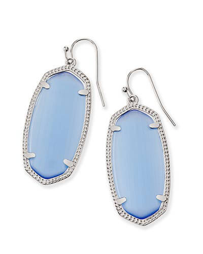 Elle Silver Earrings in Periwinkle Cat's Eye