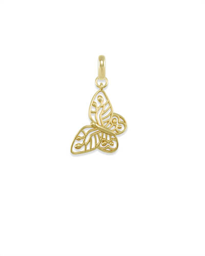 Breast Cancer Butterfly Charm in Gold