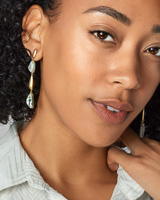Ivy Vintage Gold Linear Earrings in White Abalone