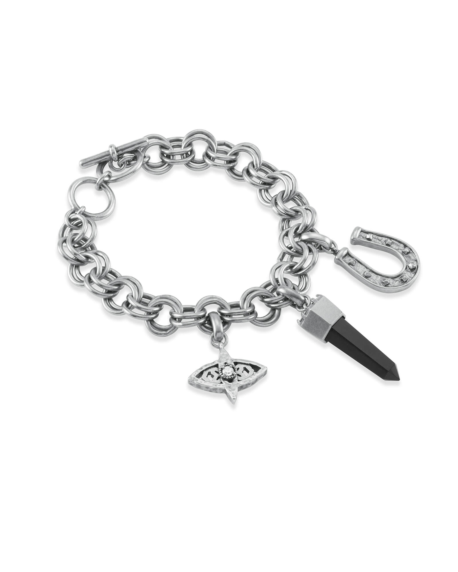 Protection Charm Bracelet Set in Vintage Silver
