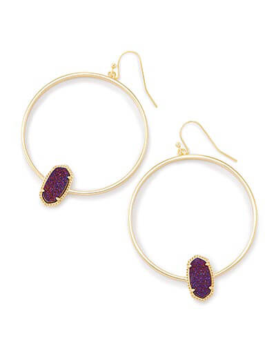 Elora Hoop Earrings in Plum Drusy