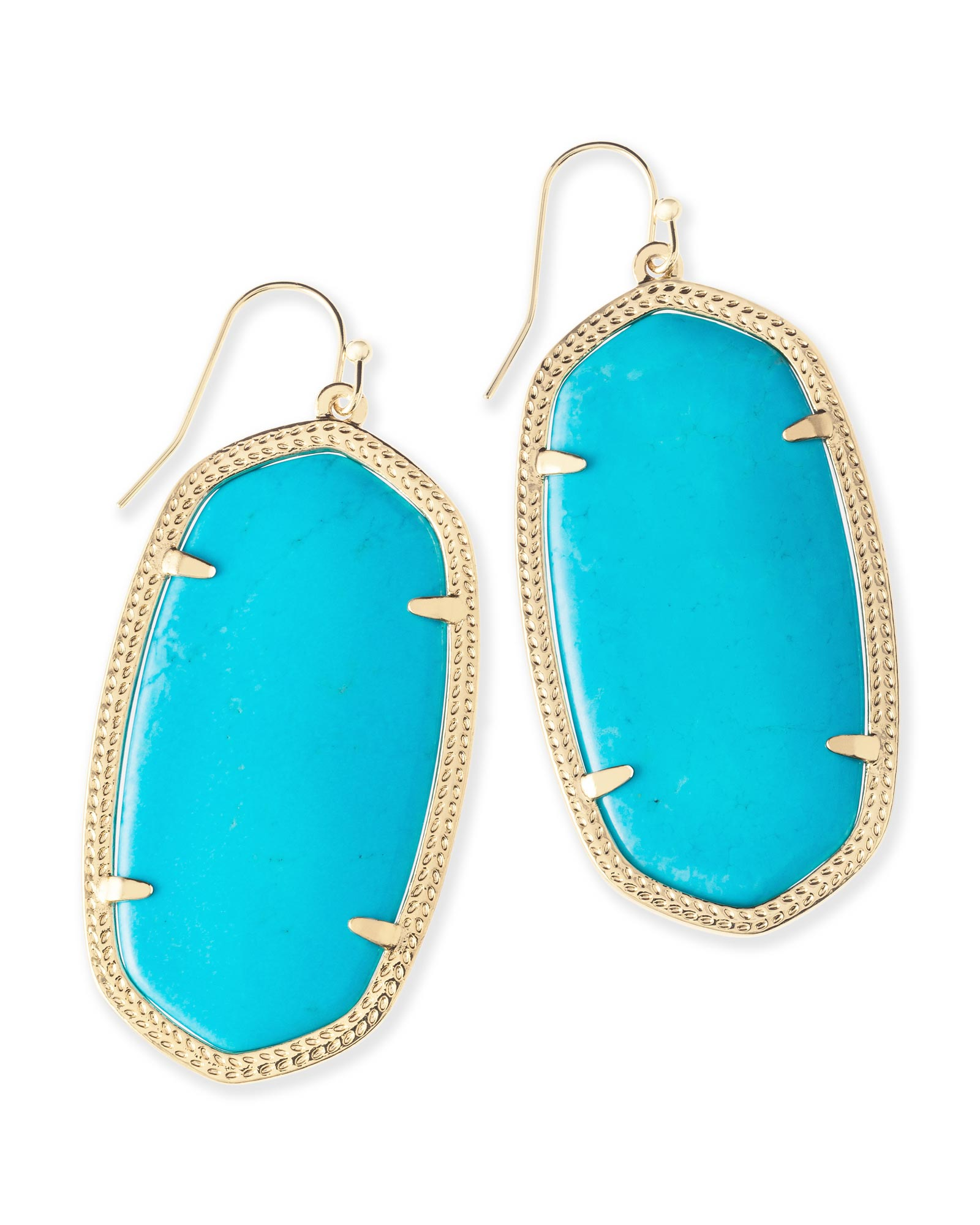 Danielle Gold Statement Earrings in Turquoise