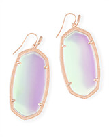 Danielle Rose Gold Drop Earrings in Dichroic Glass