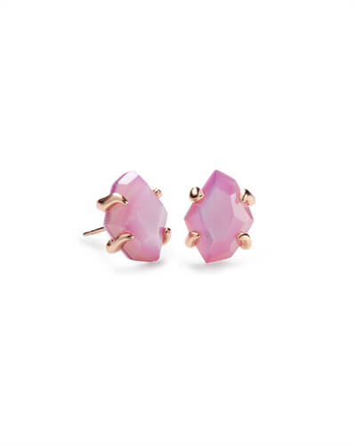 Inaiyah Rose Gold Stud Earrings In Lilac Mother of Pearl