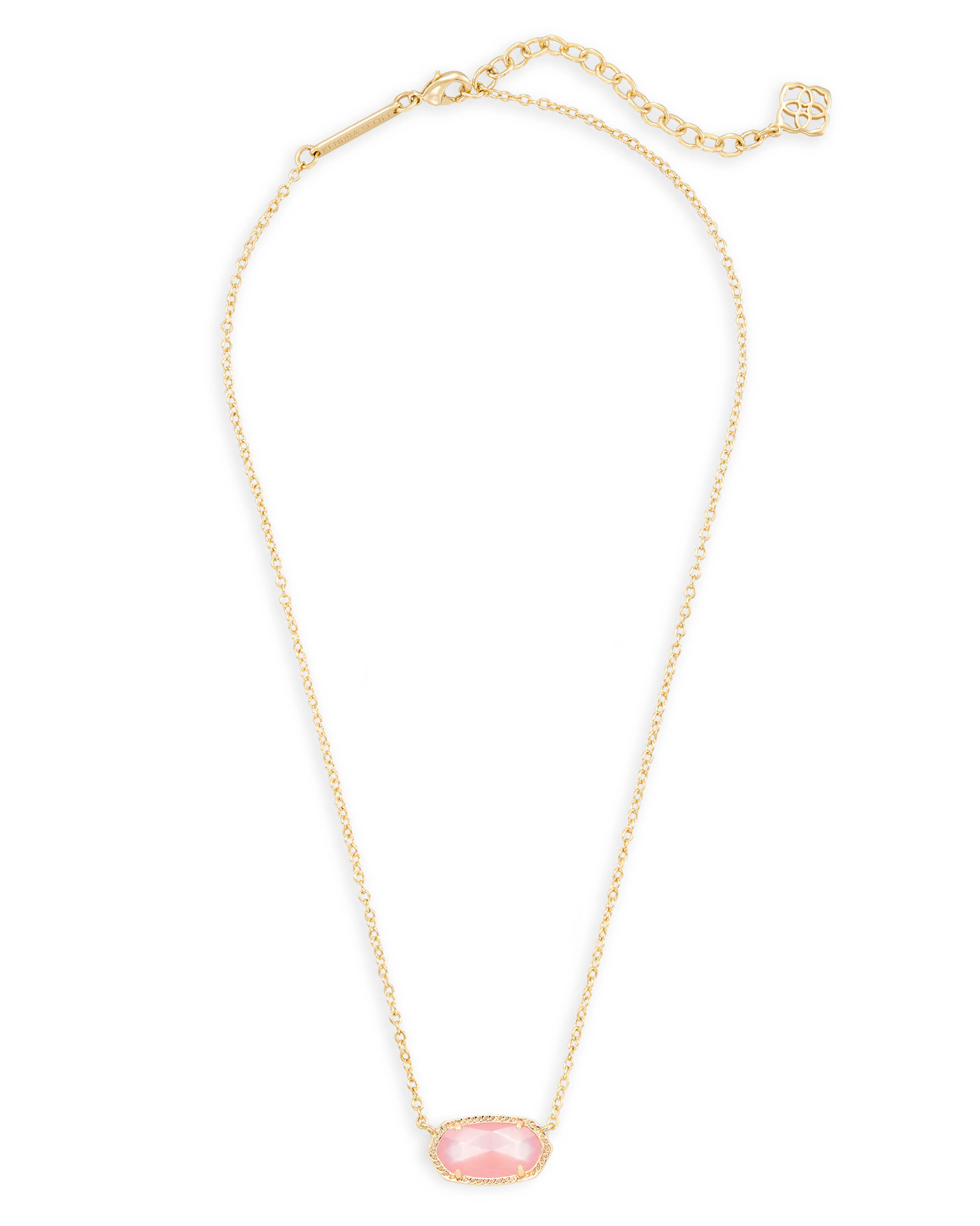 Elisa Gold Pendant Necklace in Peach Pearl