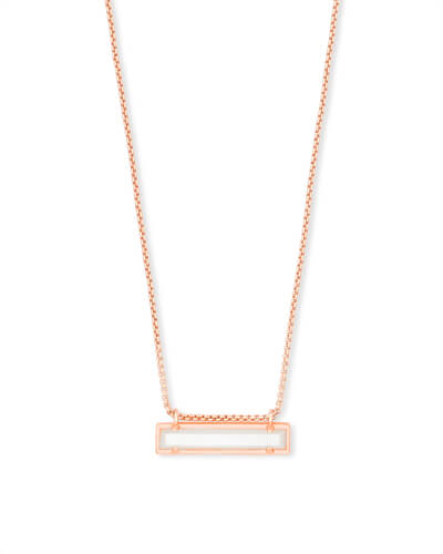 Leanor Rose Gold Pendant Necklace in Ivory Pearl