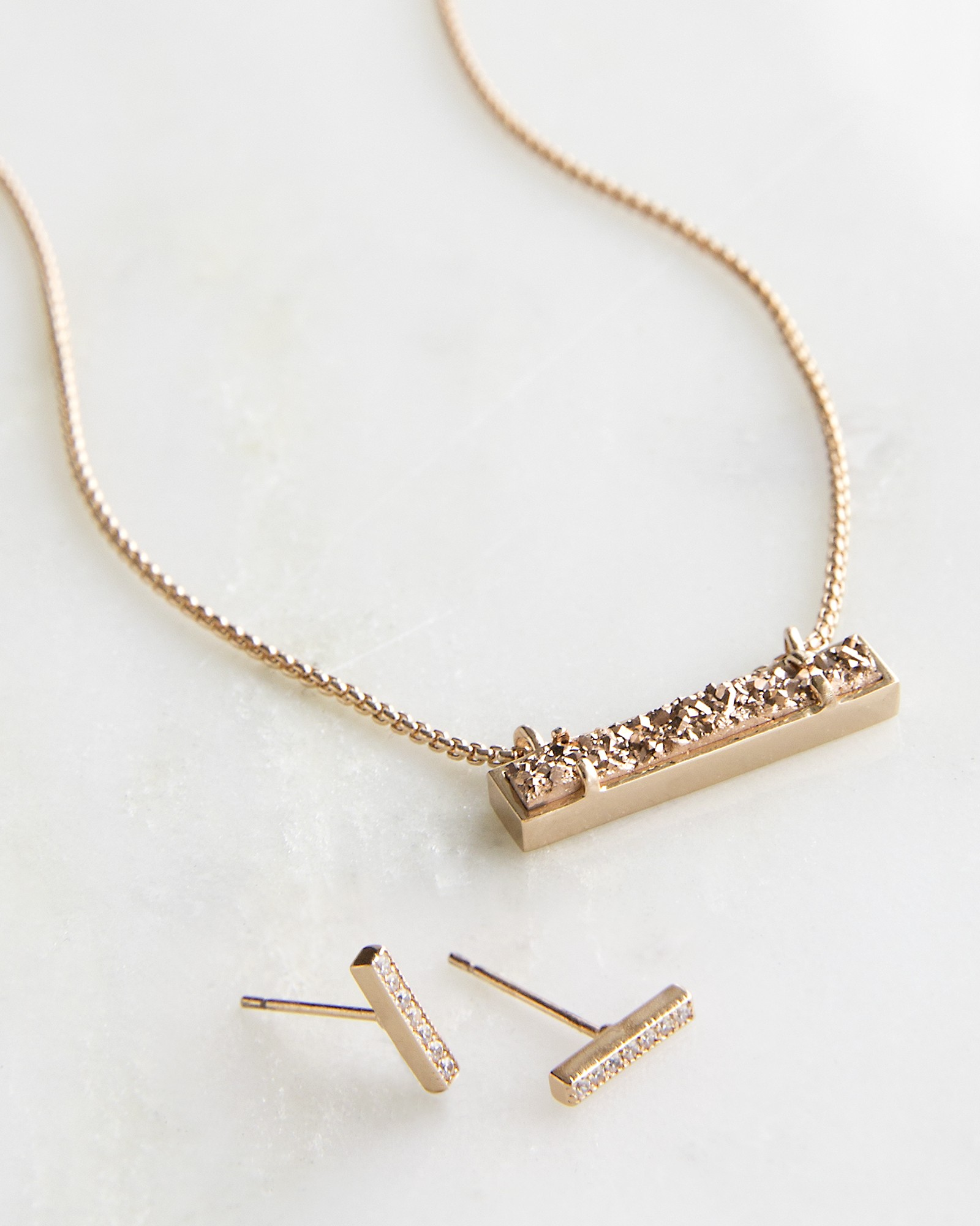 Jon Leanor Rose Gold Jewelry Set in Drusy Kendra Scott
