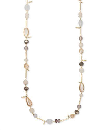 Ruth Gold Long Necklace In Ivory Mix
