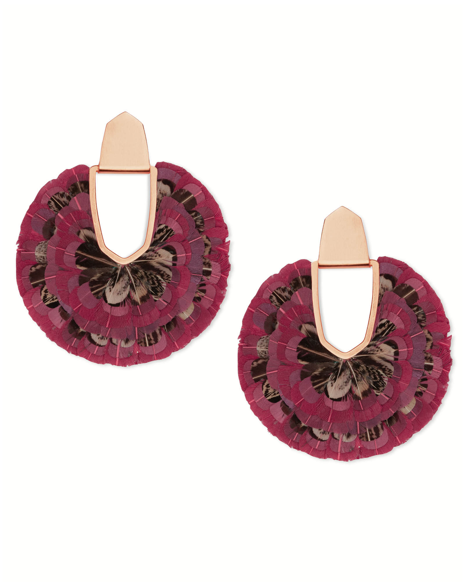 Diane Rose Gold Statement Earrings in Maroon Feathers