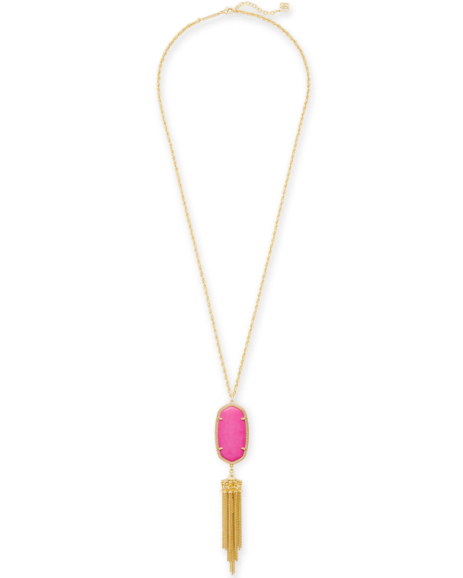 Rayne Long Pendant Necklace in Magenta