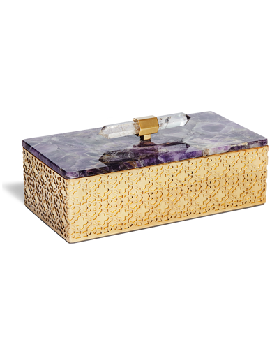 Rectangular Filigree Box in Chevron Amethyst