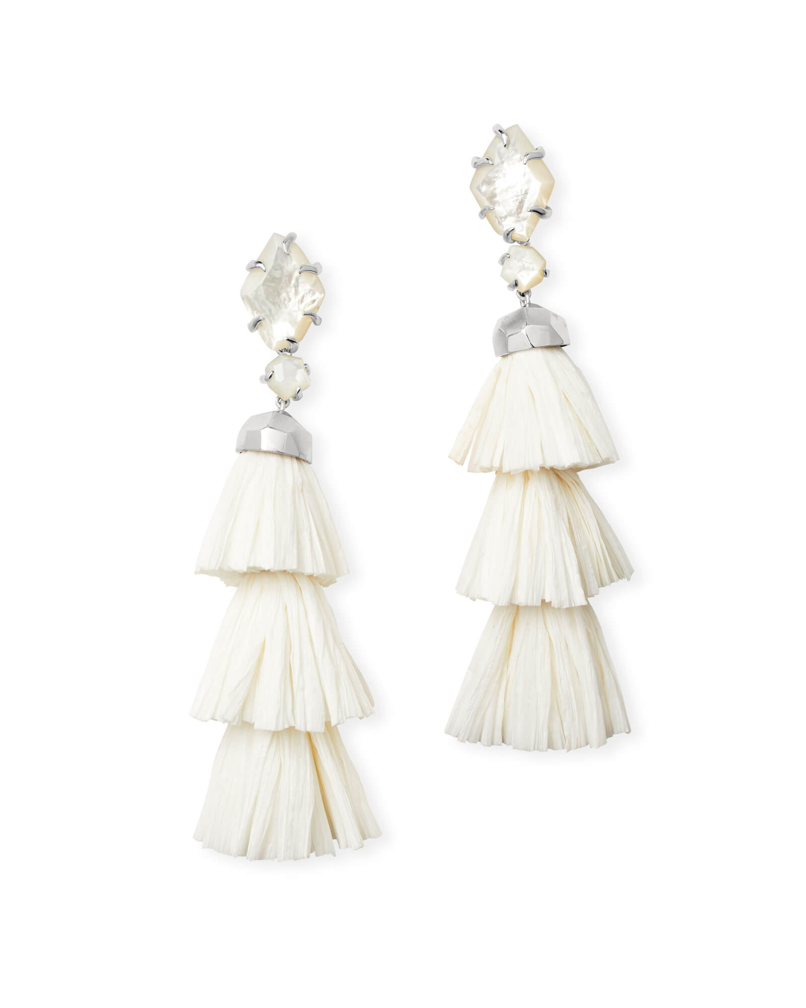 Denise Silver Statement Earrings Ivory Mother of Pearl