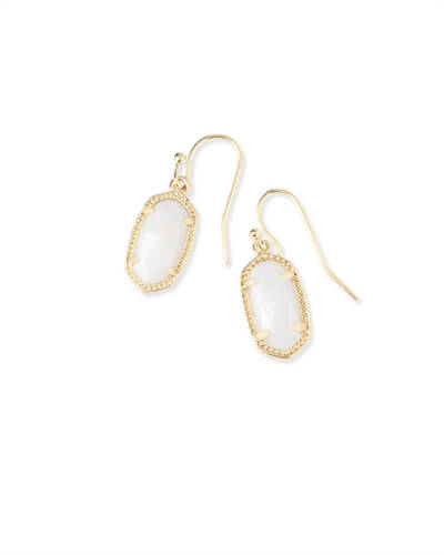 Lee Gold Drop Earrings in White Pearl