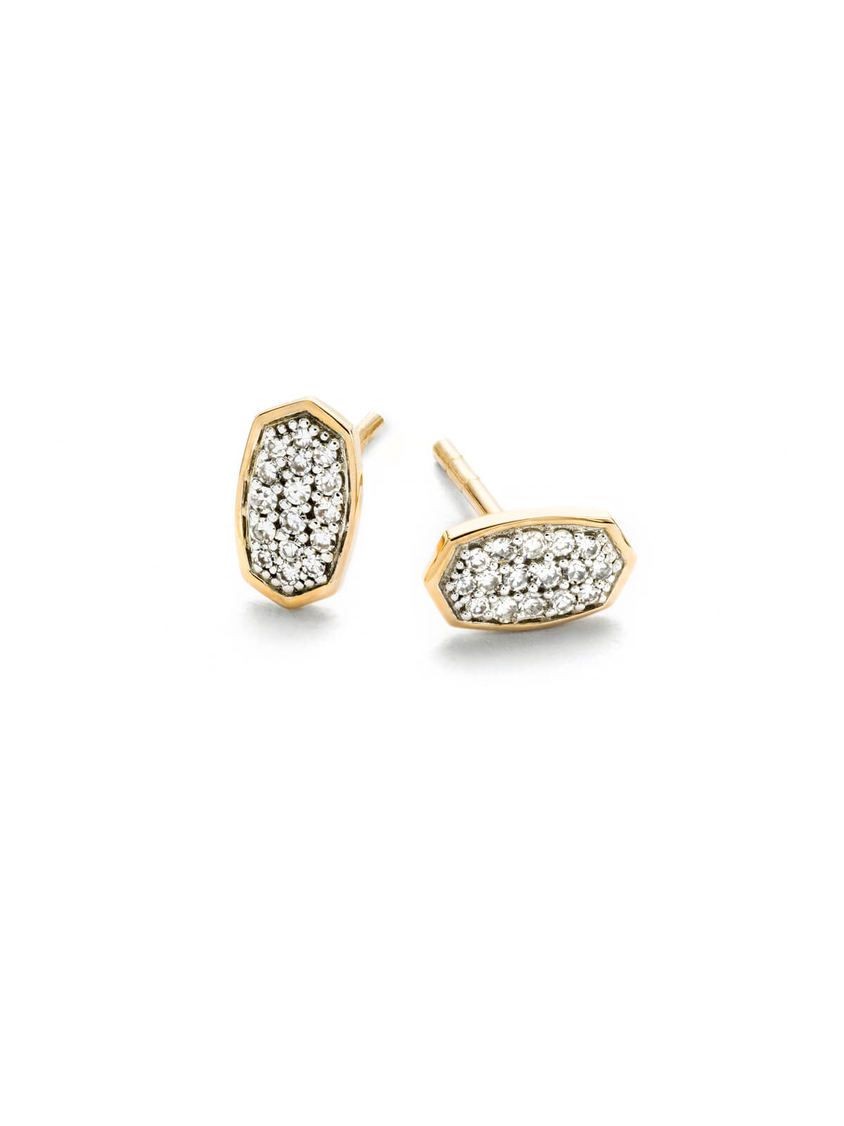 Gypsy Stud Earrings in White Diamond and 14k Yellow Gold