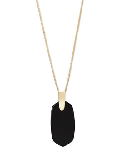 Inez Gold Long Pendant Necklace In Black Opaque Glass