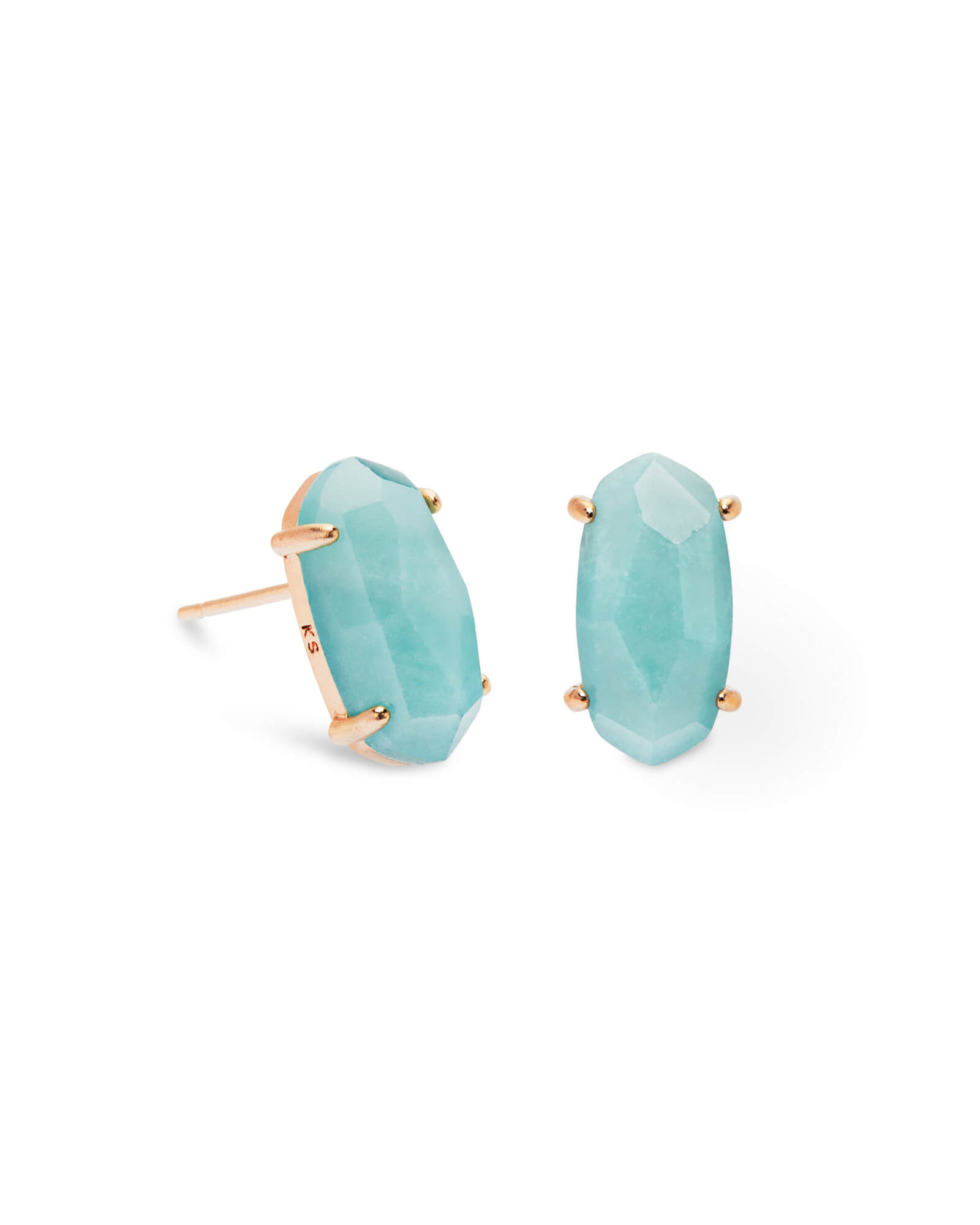 Betty Rose Gold Stud Earrings in Teal Quartzite