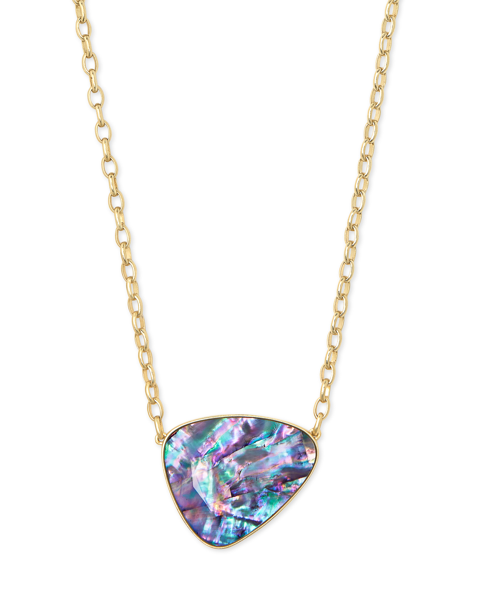 Mckenna Gold Pendant Necklace in Lilac Abalone