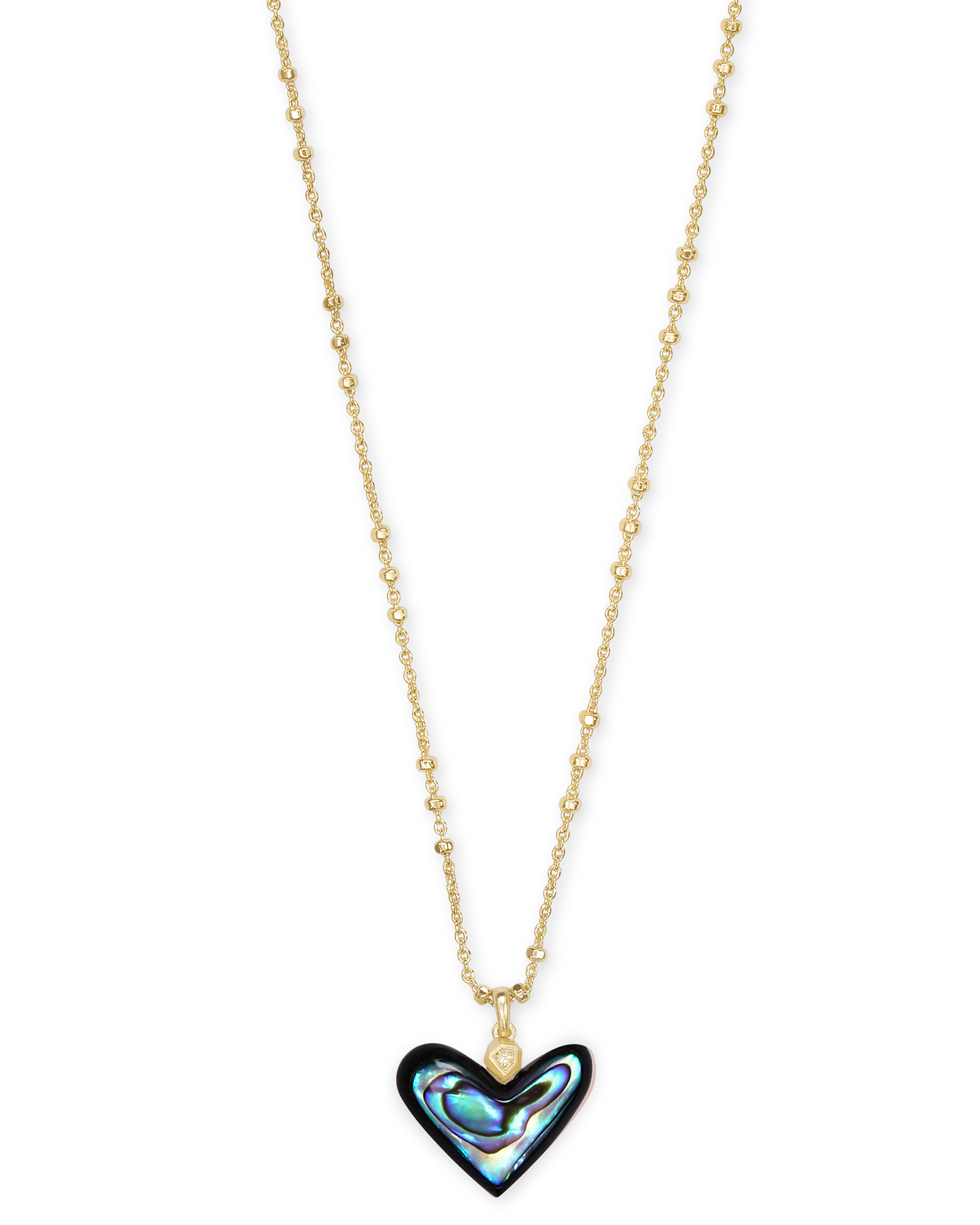 Poppy Heart Gold Pendant Necklace in Abalone