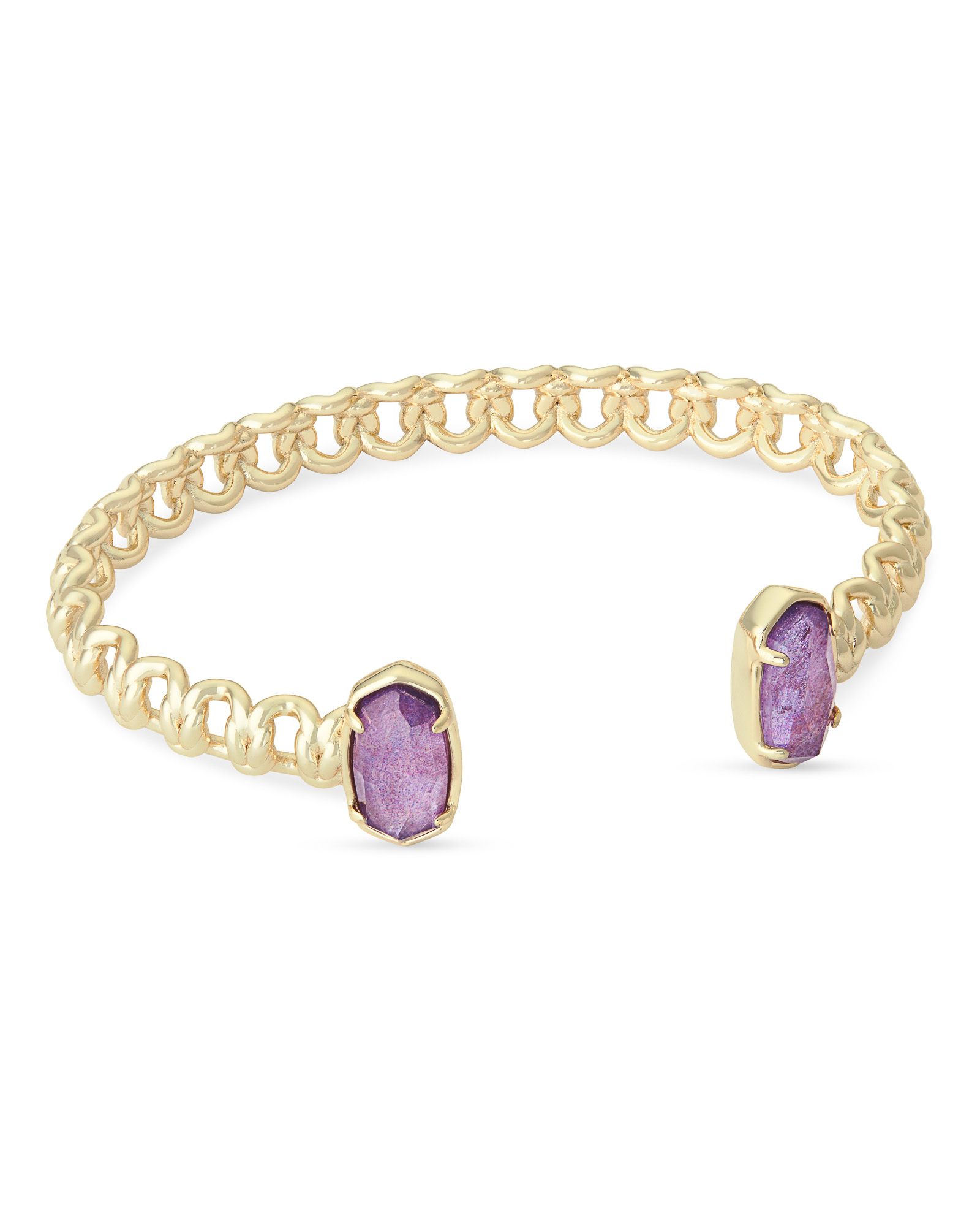 Macrame Elton Gold Cuff Bracelet In Purple Mica