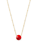 Jolie Gold Pendant Necklace in Cherry Red Illusion