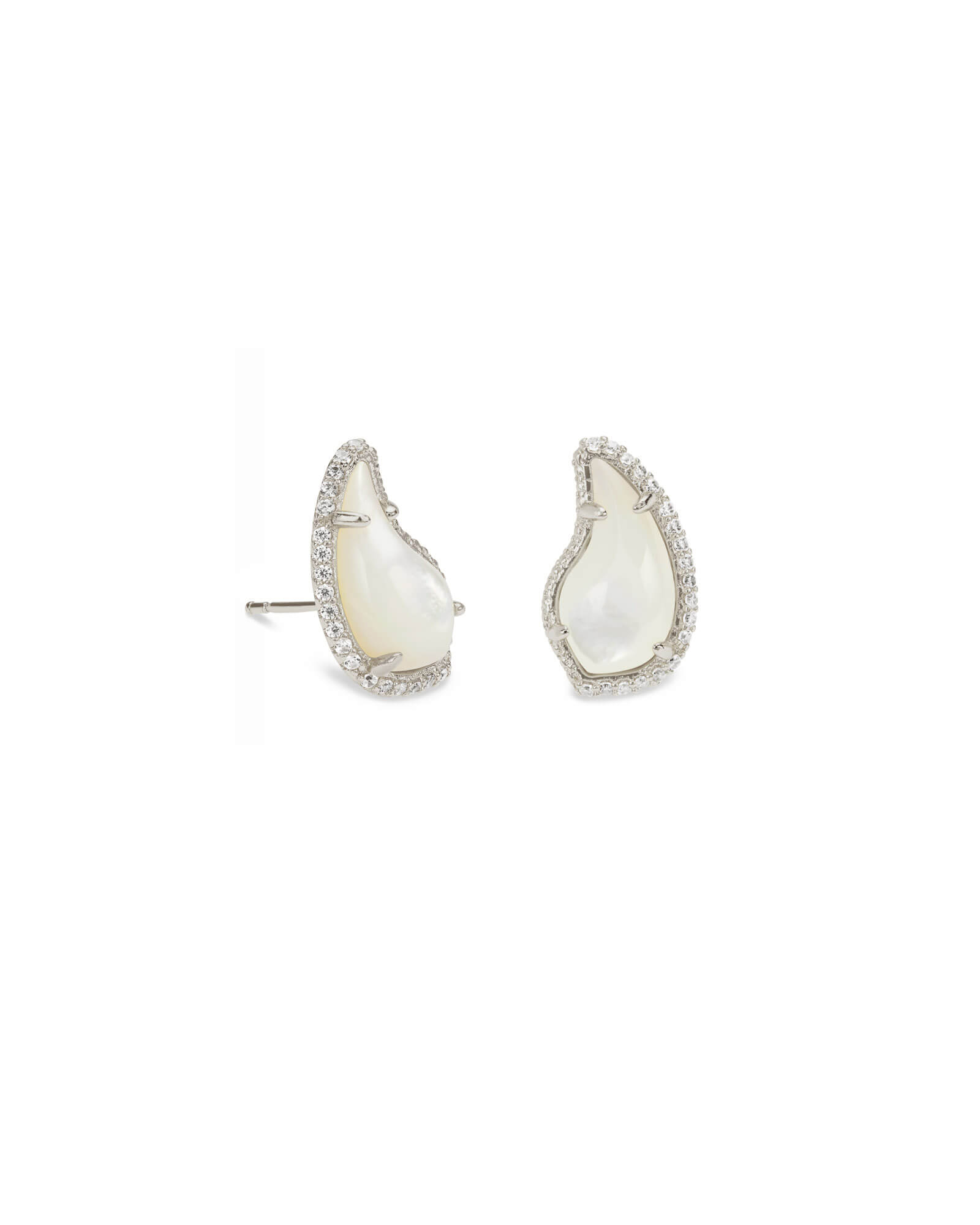 Temple Silver Stud Earrings In Ivory Pearl by Kendra Scott