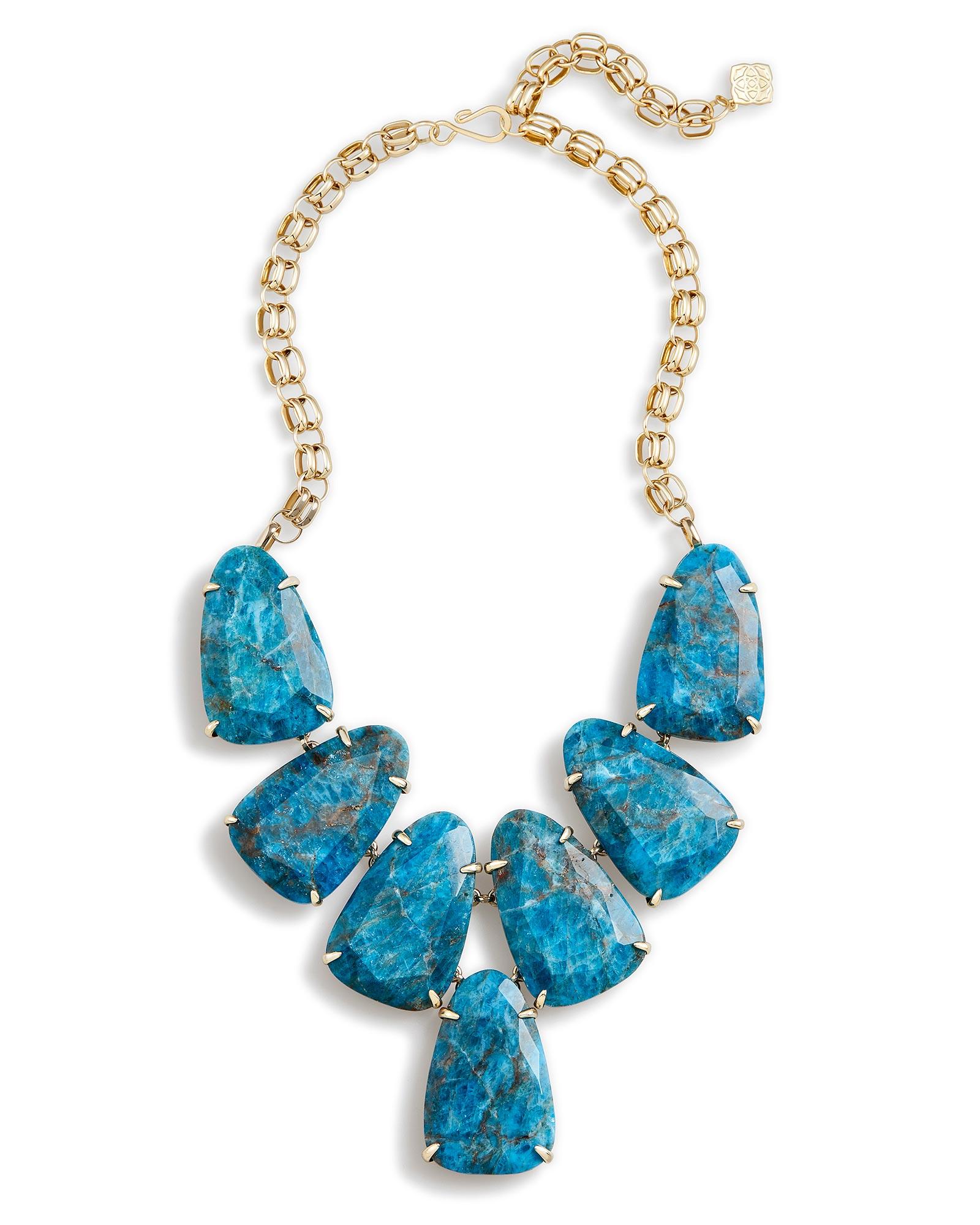 Harlow brass statement necklace in aqua kendra scott for Kendra scott fine jewelry