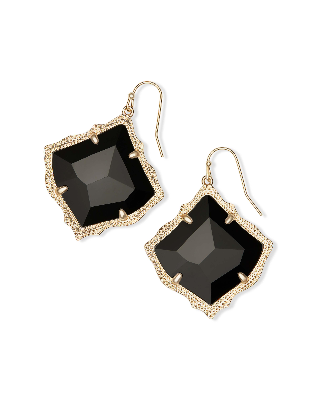 New Kendra Scott Kirsten Gold Drop Earring In Black Opaque Glass