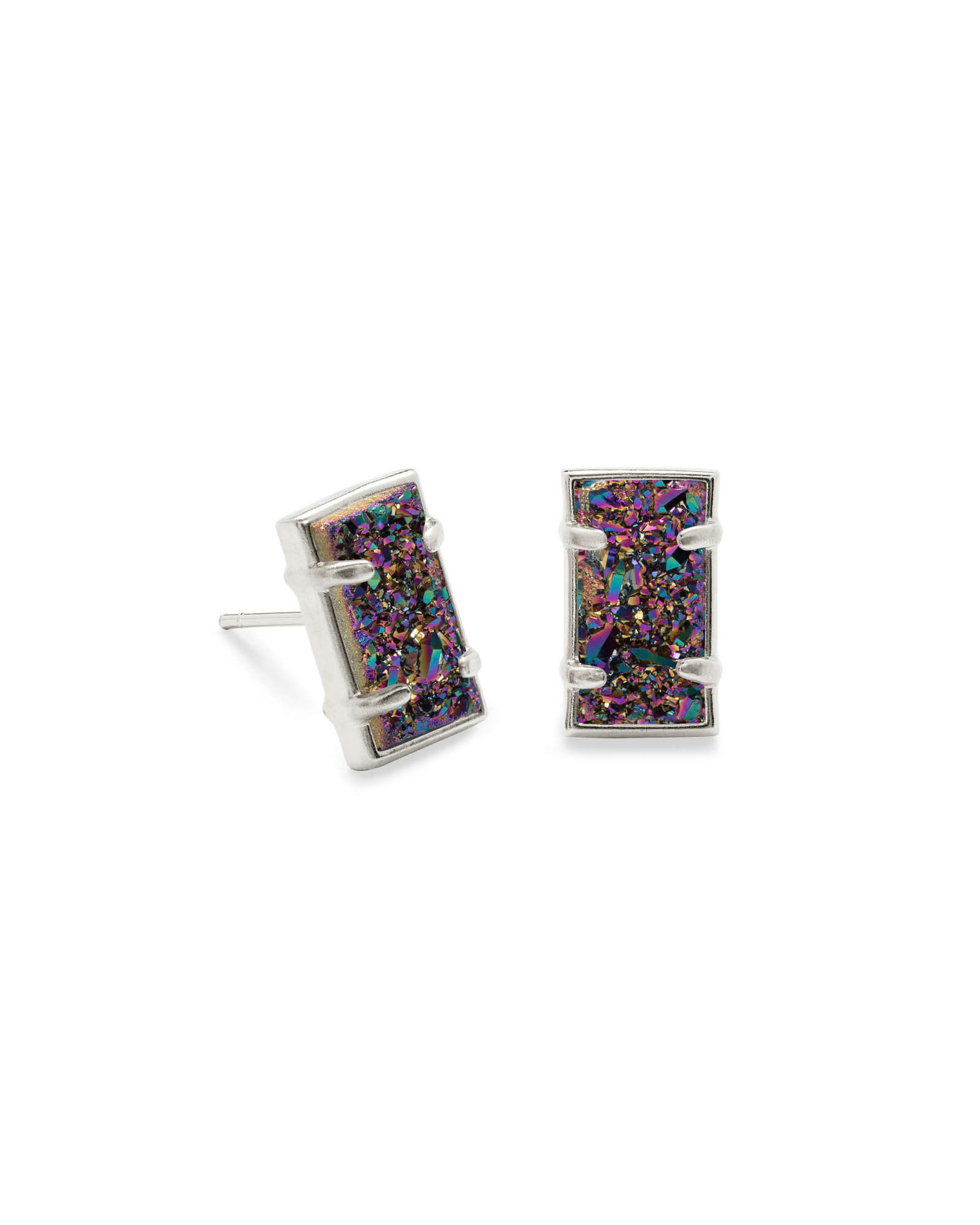 Paola Silver Stud Earrings in Multicolor Drusy