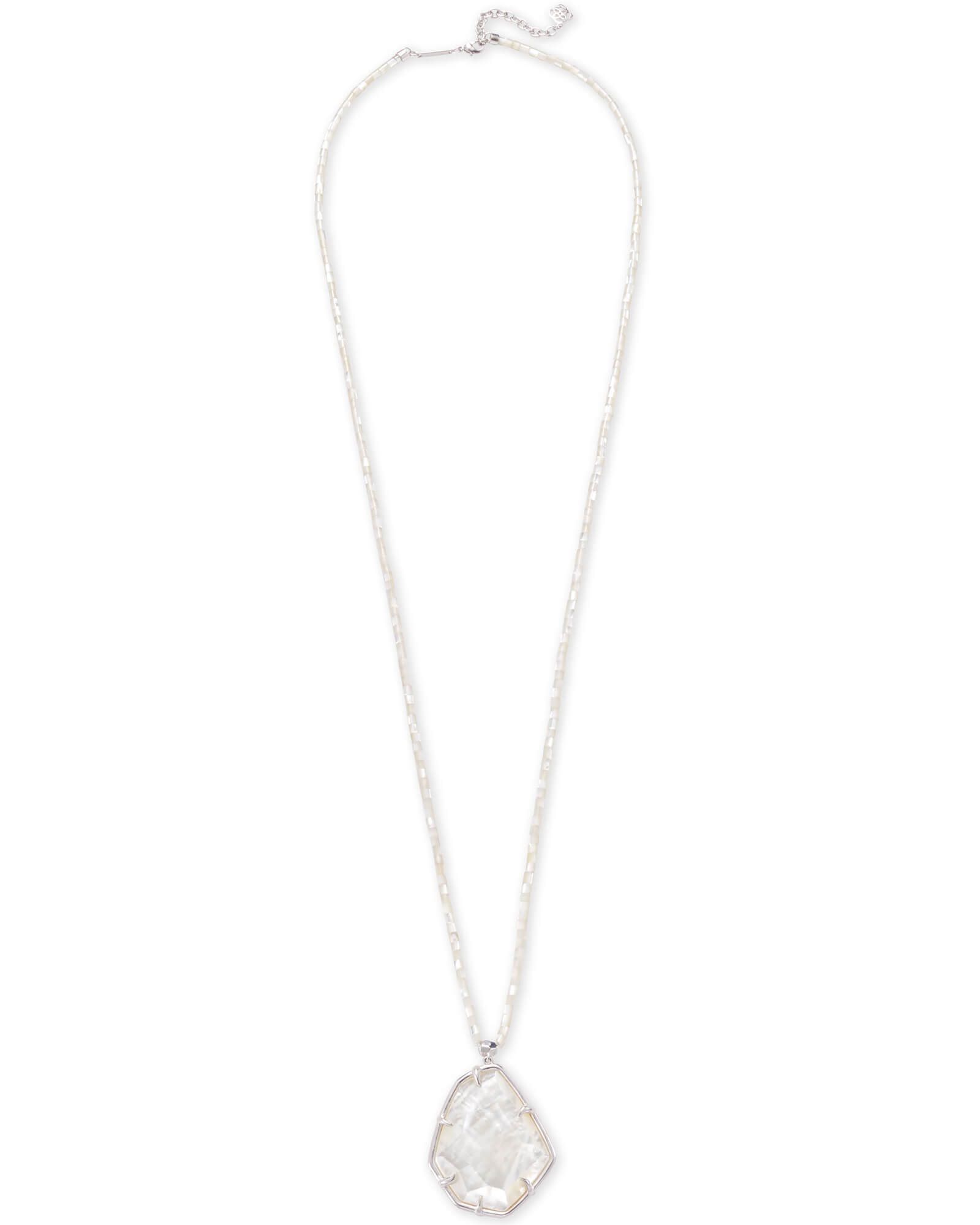 Beatrix Silver Long Pendant Necklace In Ivory Mother of Pearl