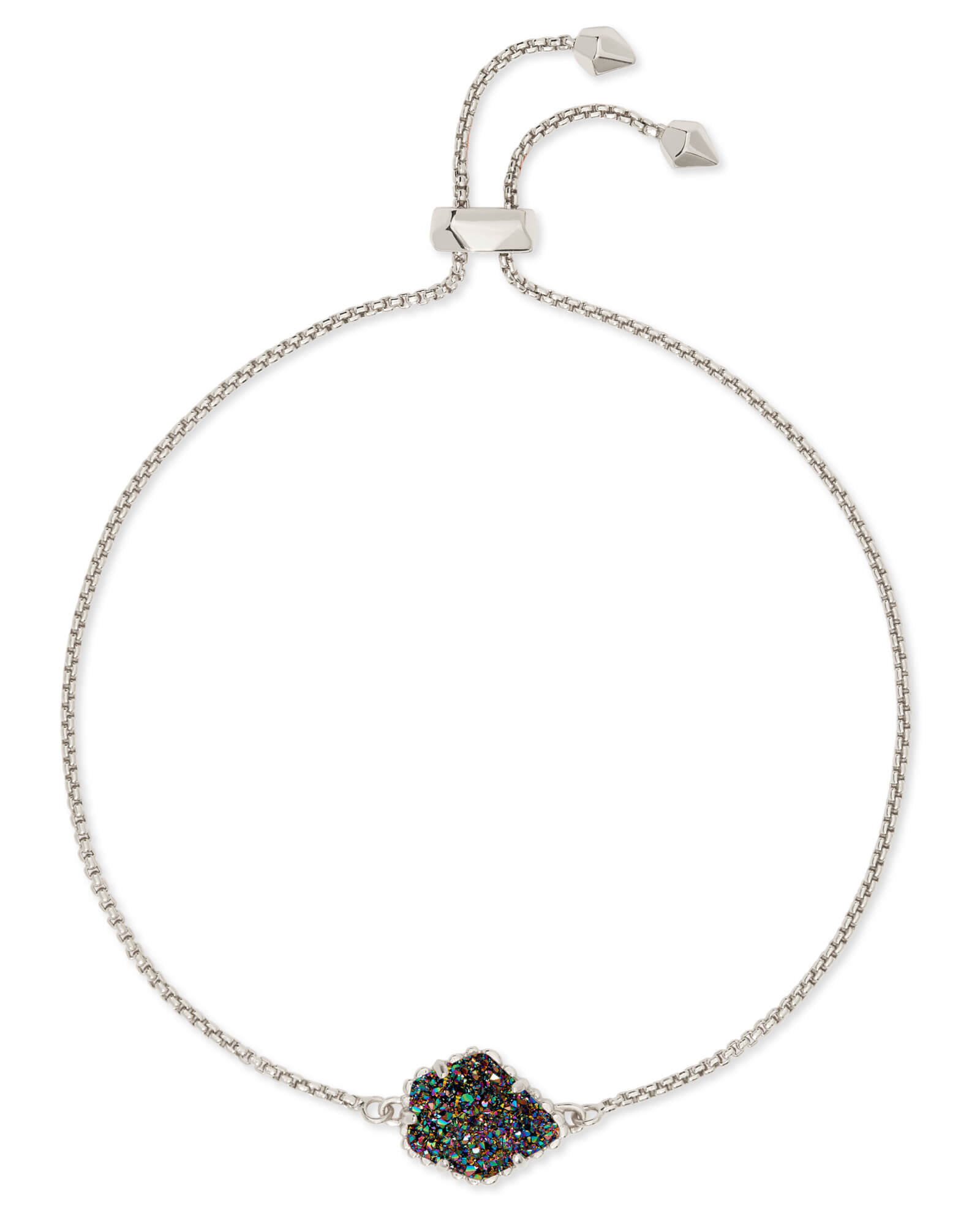 Theo Silver Adjustable Chain Bracelet in Multicolor Drusy