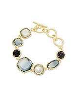 Natalia Gold Link Bracelet in Steel Gray Mix