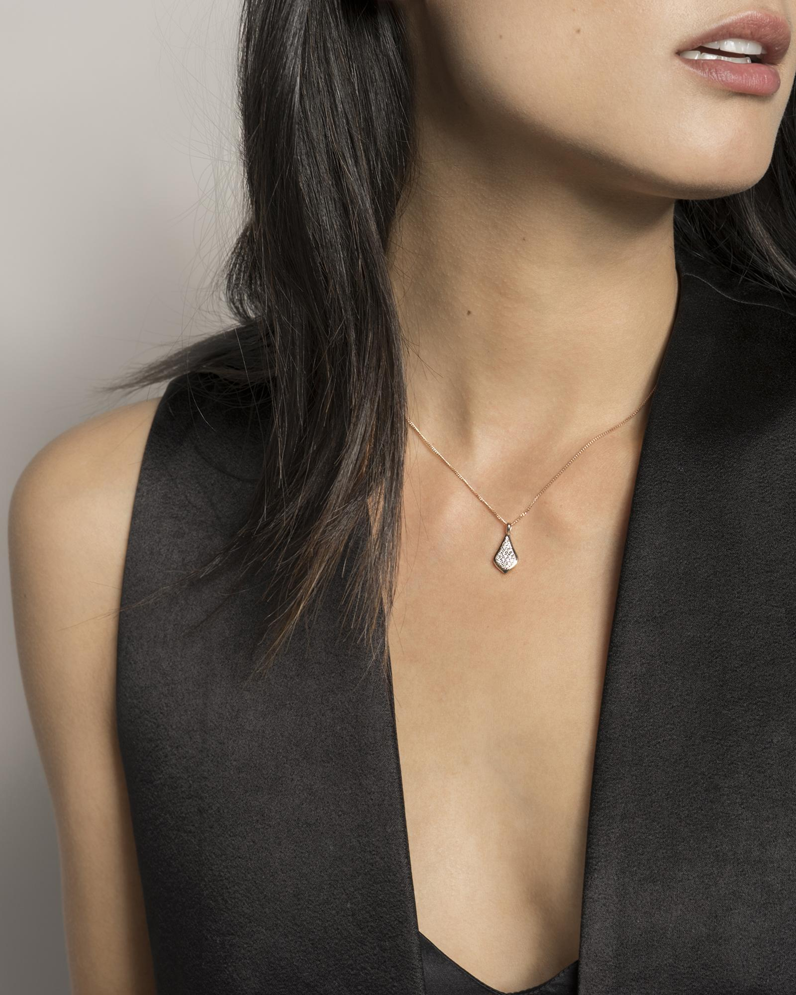Lela Pendant Necklace in Pave Diamond and 14k White Gold