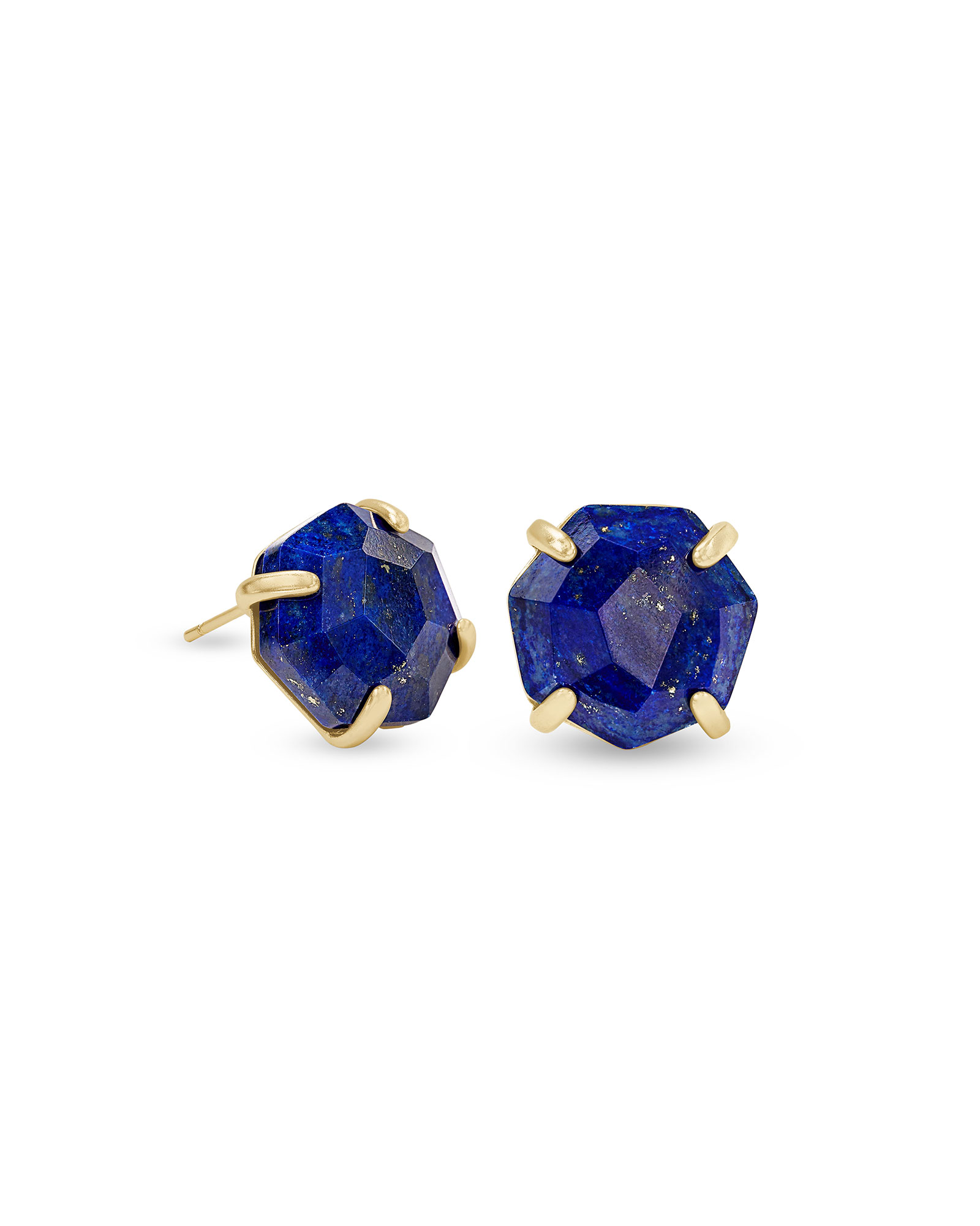 Ryan Gold Stud Earrings in Blue Lapis