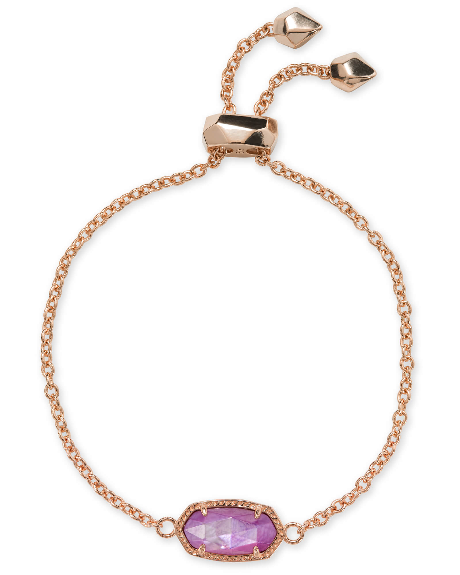 Elaina Rose Gold Chain Bracelet in Lilac Mother of Pearl