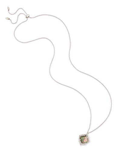 Kacey Long Pendant Necklace in Black Pearl