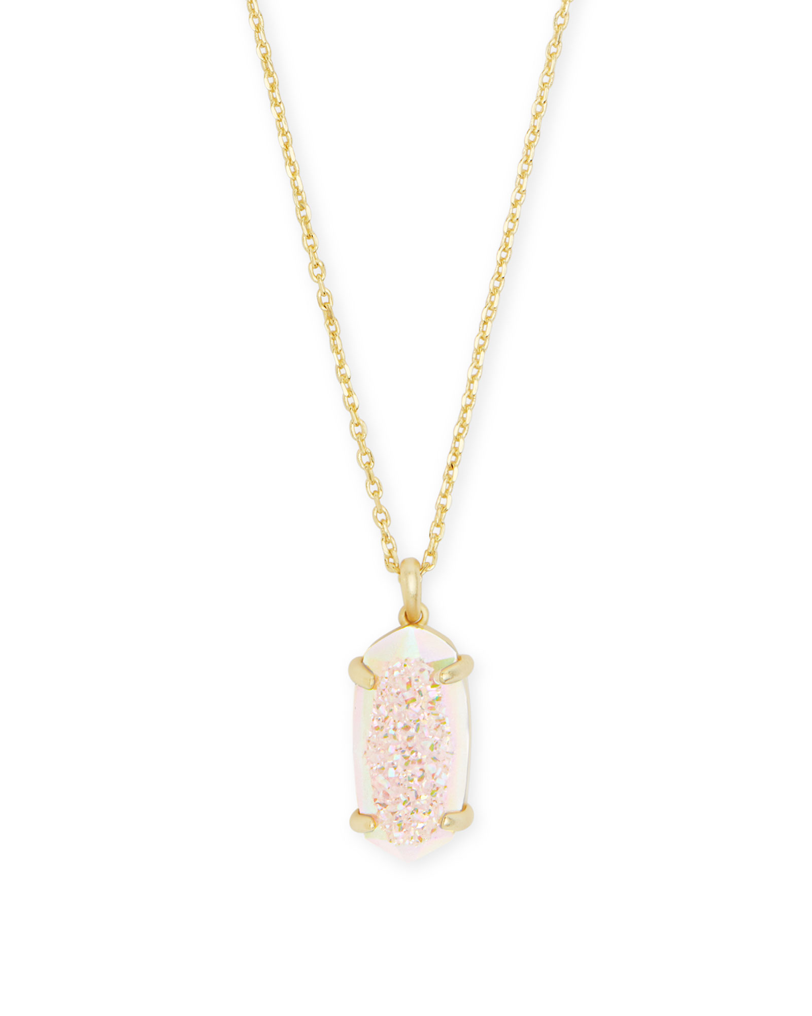 Harrison Gold Pendant Necklace In Iridescent Drusy