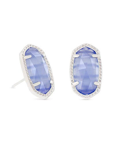 Ellie Silver Stud Earrings in Periwinkle Cat's Eye