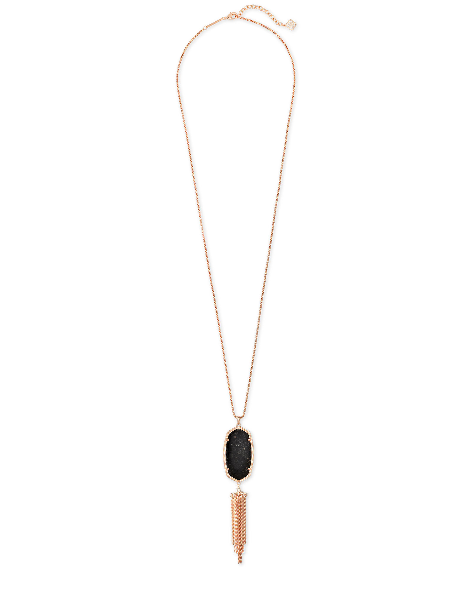 Rayne Rose Gold Long Pendant Necklace in Black Granite