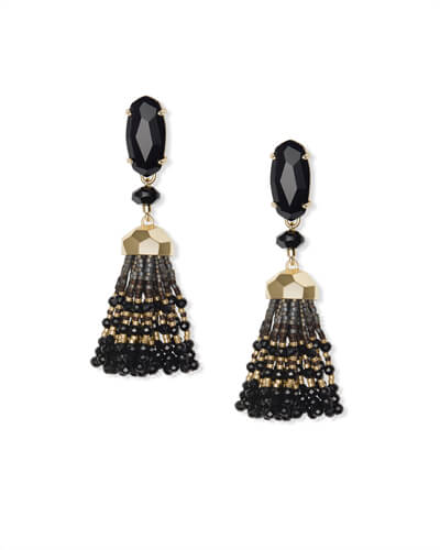 Dove Gold Statement Earrings in Black Opaque Glass