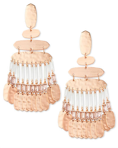 Nicola Rose Gold Statement Earrings in Blush Crystal