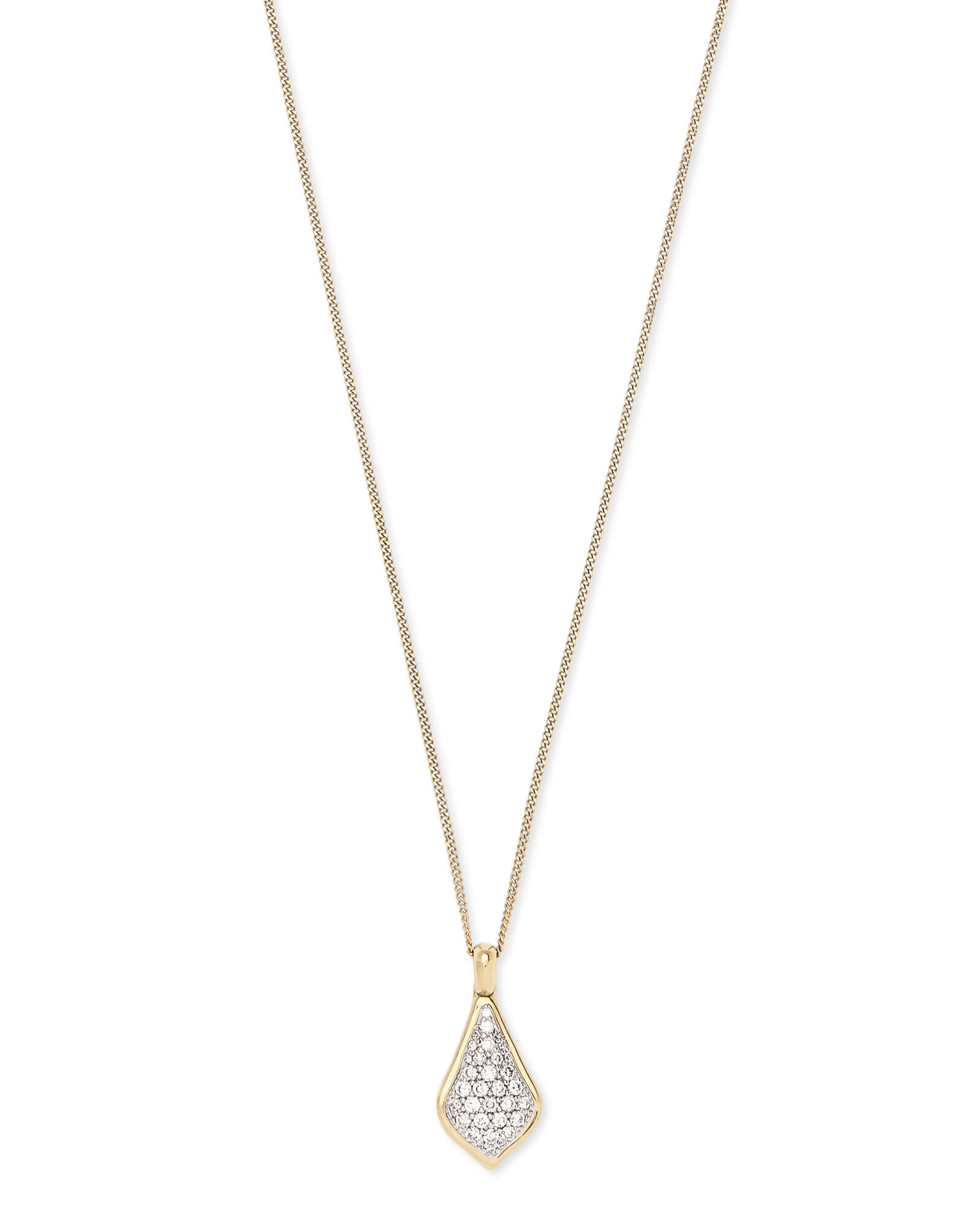 Lela Pendant Necklace in Pave Diamond and 14k Yellow Gold