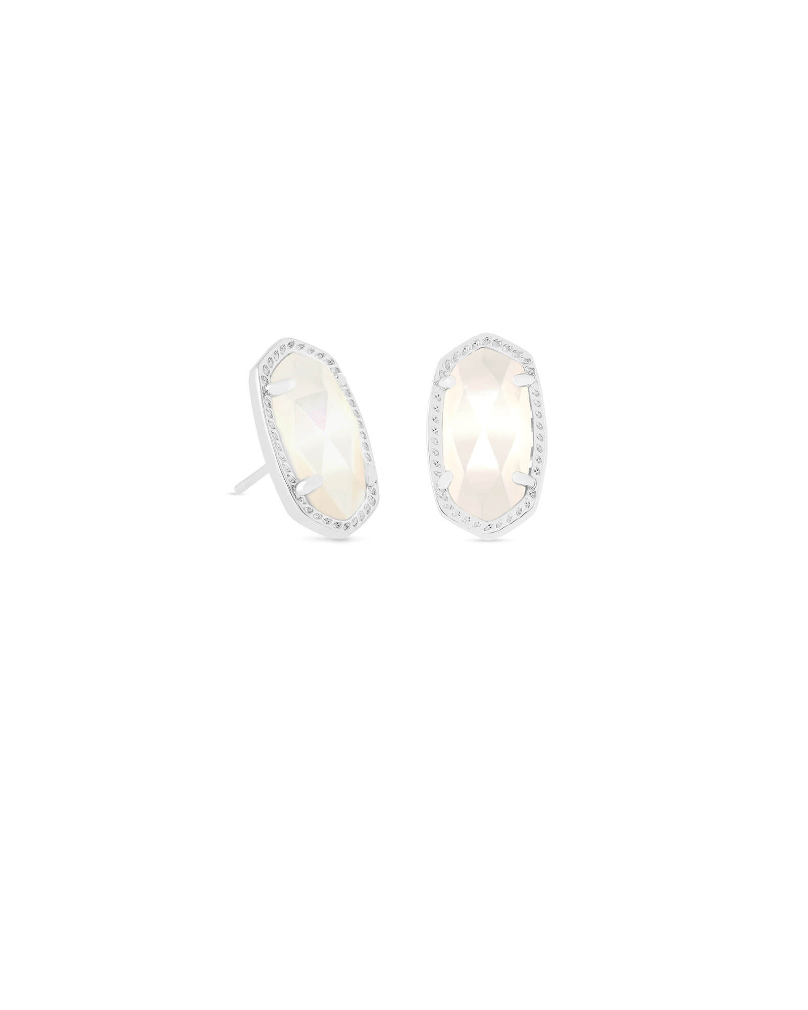 Ellie Silver Stud Earrings in Ivory Pearl
