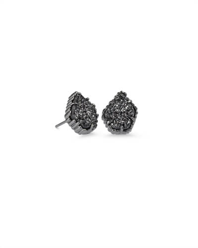 Tessa Gunmetal Stud Earrings in Black Drusy
