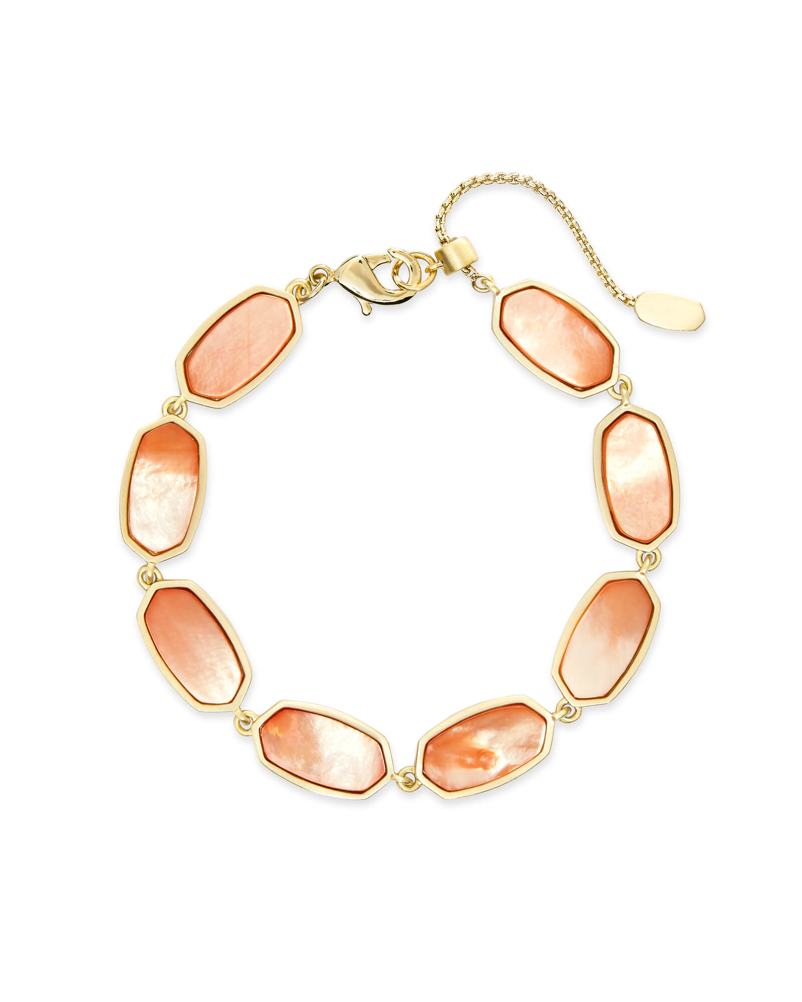 Millie Gold Link Bracelet in Peach Pearl