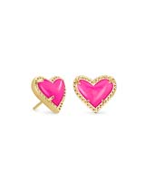 Ari Heart Gold Stud Earrings in Magenta Magnesite