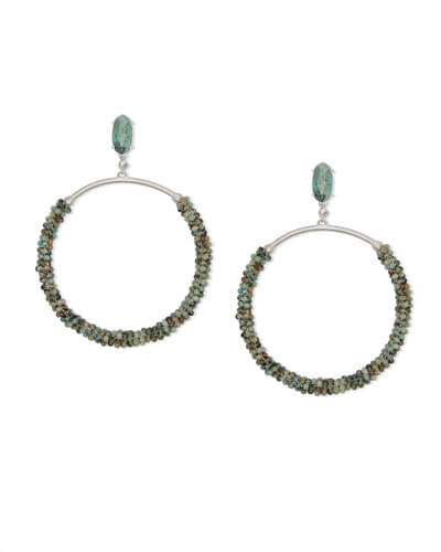 Russel Silver Hoop Earrings in African Turquoise
