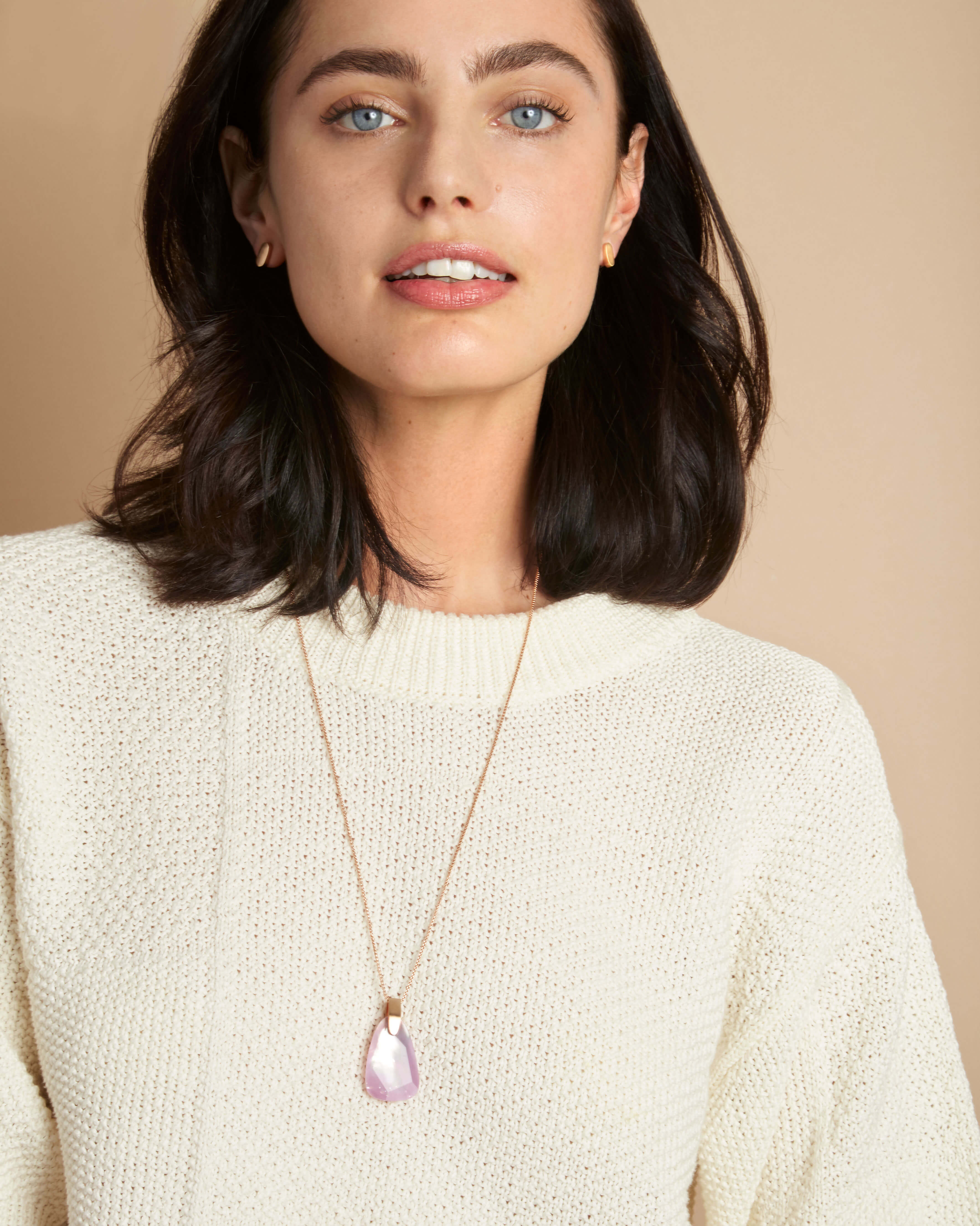 Maeve Rose Gold Long Pendant Necklace in Abalone Shell