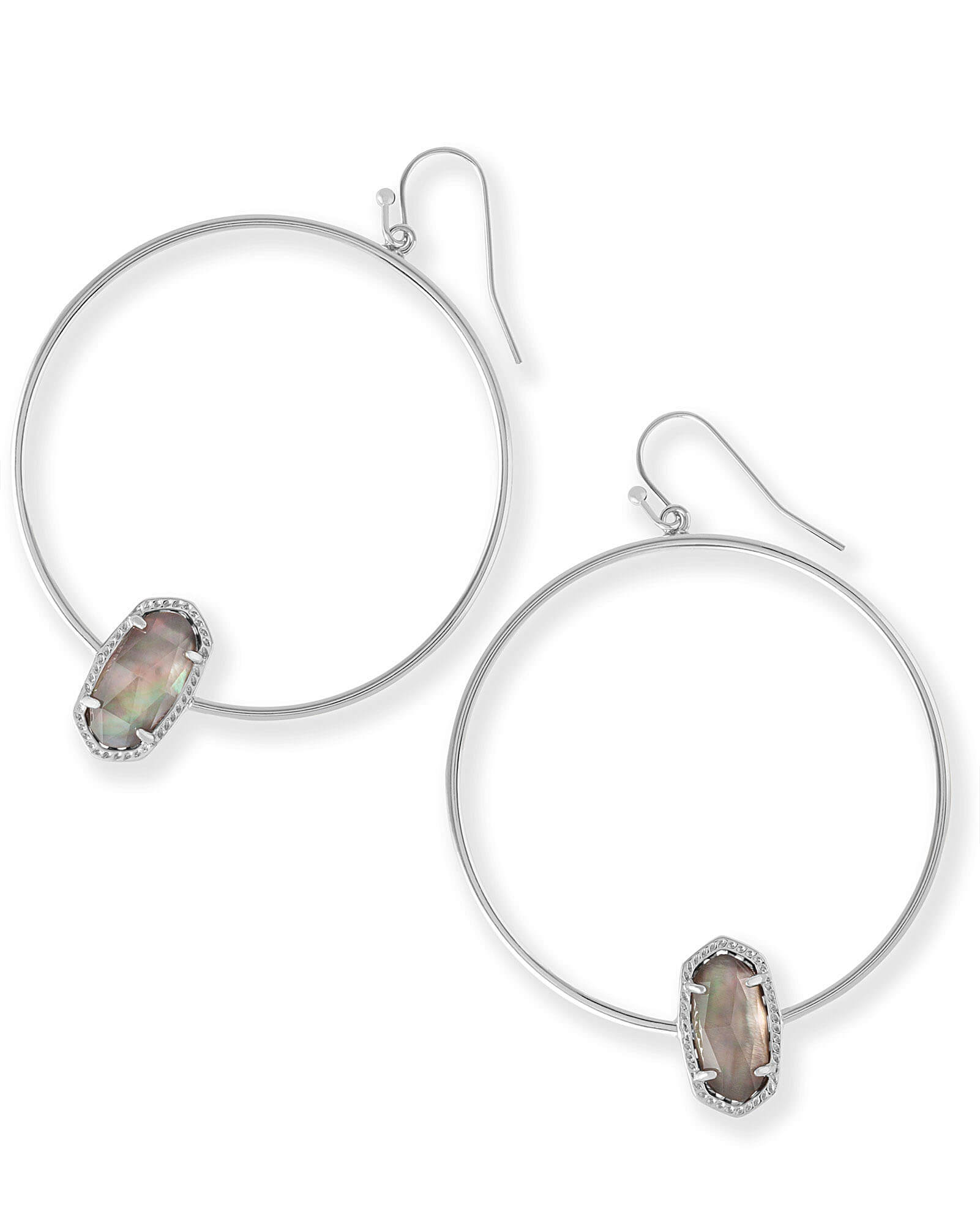 Elora Hoop Earrings in Black Mother of Pearl